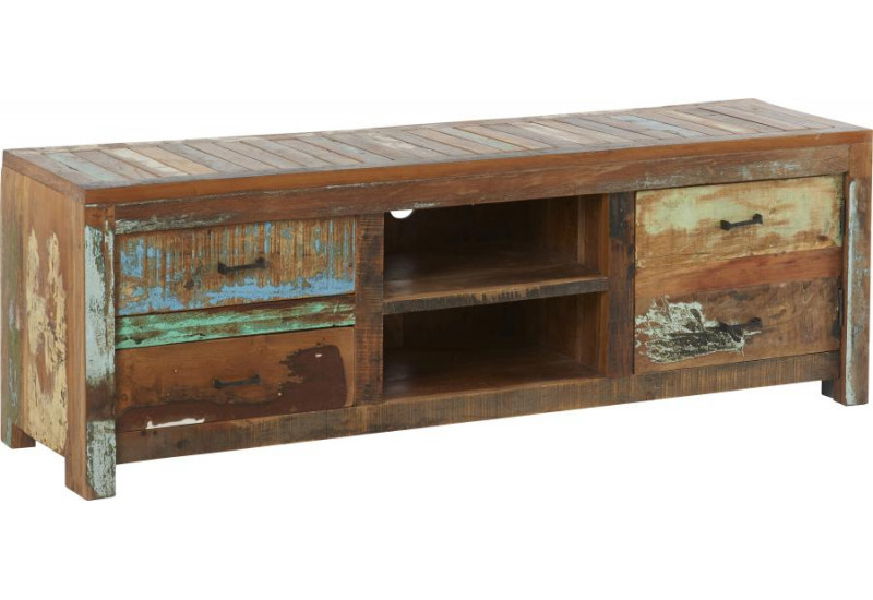 meuble tv vintage en bois effet us multicolore soho 150x40xh50cm h. Black Bedroom Furniture Sets. Home Design Ideas