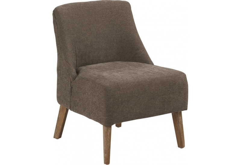 Fauteuil bas scandinave tissu taupe Crawford 53x54xH72cm