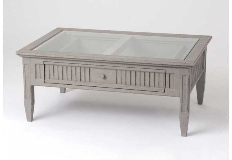 Table basse vitr e 1 tiroir patin gris amadeus 28950 for Table basse vitree