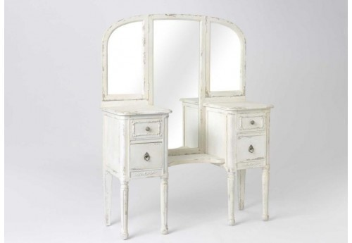 grande coiffeuse shabby chic patine vieilli cr me amadeus 29525. Black Bedroom Furniture Sets. Home Design Ideas
