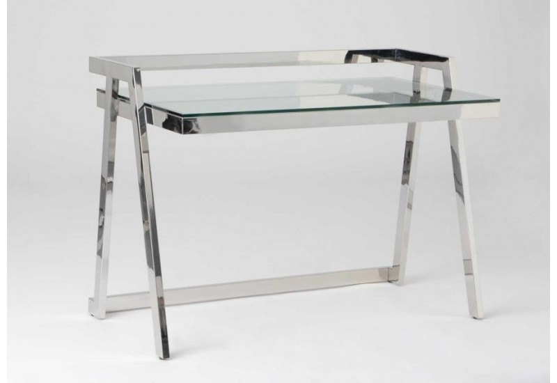Bureau design chrome verre amadeus am 129435