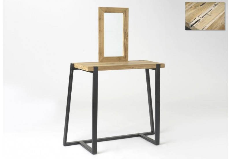 coiffeuse ethnique en bois massif et m tal noir amadeus 29693. Black Bedroom Furniture Sets. Home Design Ideas
