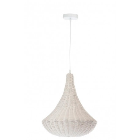 Suspension c ne en rotin blanc 40x40x50cm j line by jolipa 29879 - Suspension rotin blanc ...