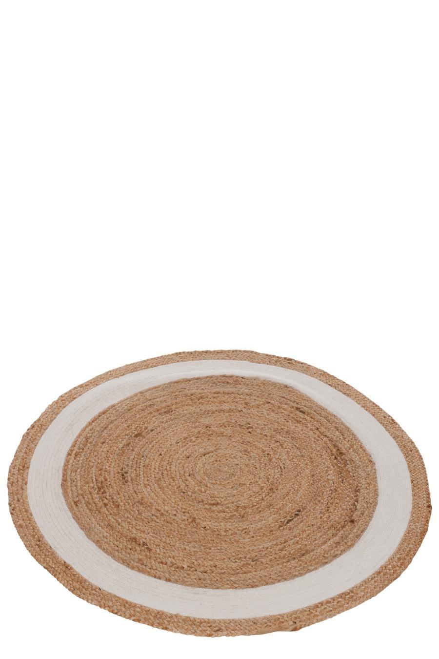 Tapis Rond Jute Coton Naturel Blanc 120x120x0cm J Line By Jolip