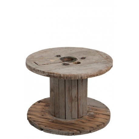 Table basse bobine en bois naturel 63x63x41cm j line by jolipa 29978 - Table basse bobine bois ...