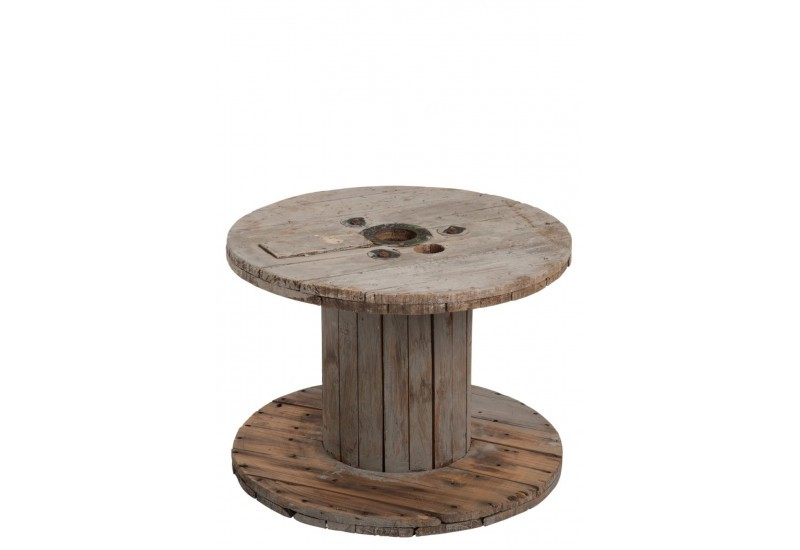 Table basse bobine en bois naturel 63x63x41cm j line by - Table basse en bois naturel ...
