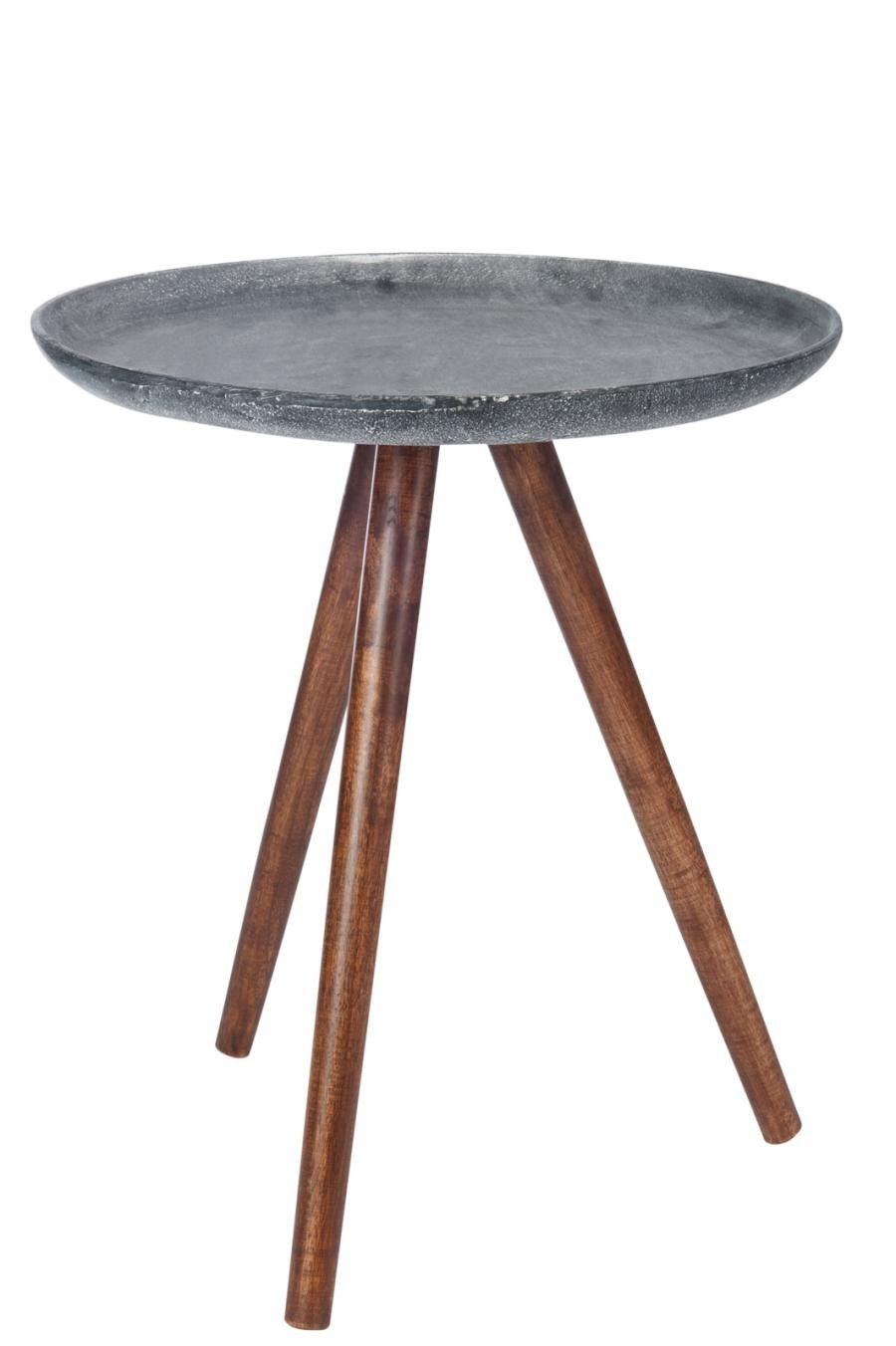 table dappoint ronde mtal et bois anthracite 45x45x50cm j line by - Table D Appoint Ronde