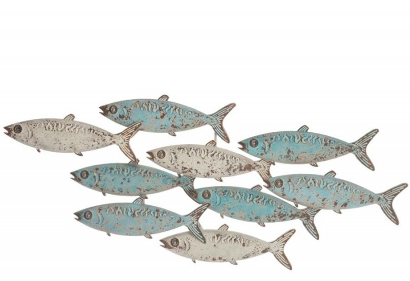D co mural banc de poissons m tal bleu blanc 117x7x49cm for Decoration murale j line