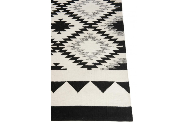 tapis rectangulaire ethnique coton noir blanc 200x300x0cm j line. Black Bedroom Furniture Sets. Home Design Ideas