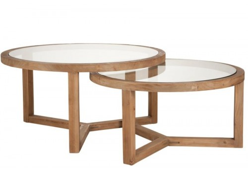 lot de tables de salon ronde bois verre 92x92x47cm j line by jolipa. Black Bedroom Furniture Sets. Home Design Ideas