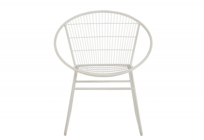 Chaise ronde moderne m tal blanc 69x61x80cm j line by for Chaise 80 cm