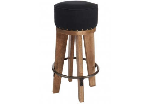 tabouret de bar en bois naturel assise noire 40x40x75cm j line by j. Black Bedroom Furniture Sets. Home Design Ideas
