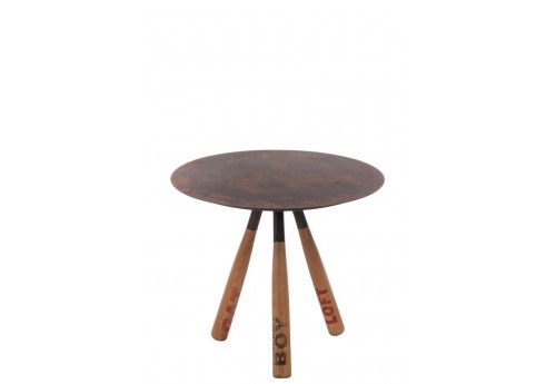 table d 39 appoint vintage baseball m tal et bois 60x60x53cm j line by. Black Bedroom Furniture Sets. Home Design Ideas