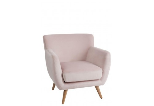 fauteuil retro en velours rose 80x82x82cm j line by jolipa 30245. Black Bedroom Furniture Sets. Home Design Ideas