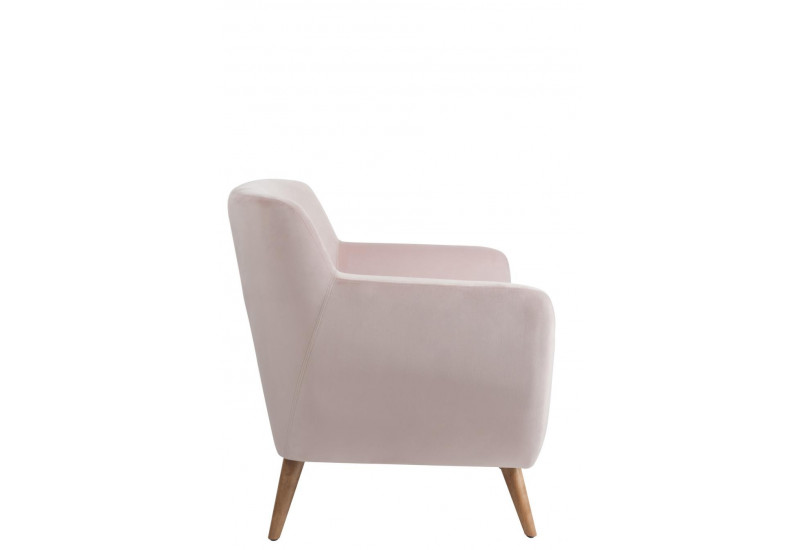 fauteuil retro en velours rose 80x82x82cm j line by jolipa. Black Bedroom Furniture Sets. Home Design Ideas