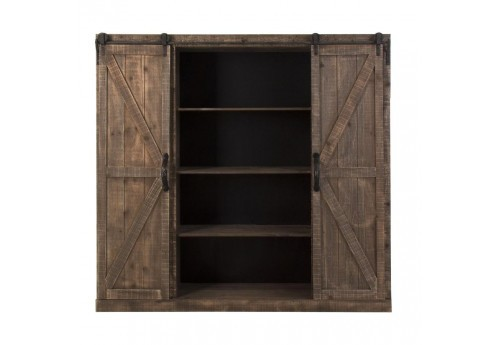 buffet haut industriel 2 portes coulissantes en bois vieilli vical. Black Bedroom Furniture Sets. Home Design Ideas