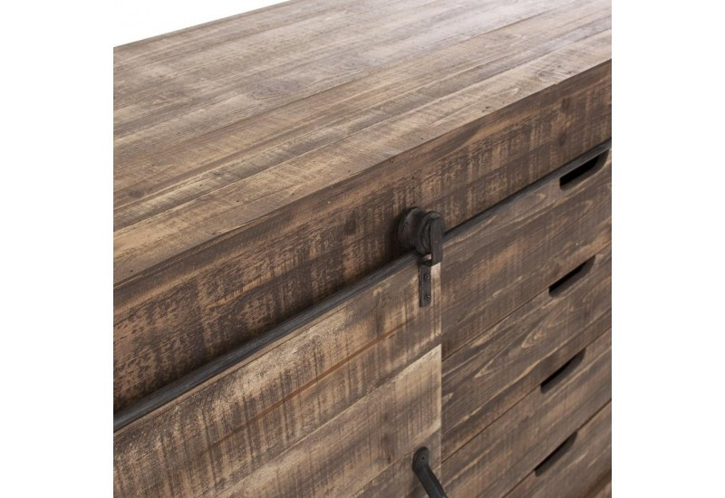 buffet industriel 1 porte coulissante 4 tiroirs en bois vieilli vic. Black Bedroom Furniture Sets. Home Design Ideas