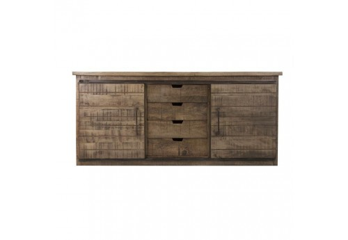 buffet industriel 2 portes coulissantes et 4 tiroirs vical home 30341. Black Bedroom Furniture Sets. Home Design Ideas
