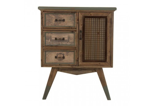 meuble d 39 appoint 3 tiroirs cartographi s en bois vieilli vical home. Black Bedroom Furniture Sets. Home Design Ideas