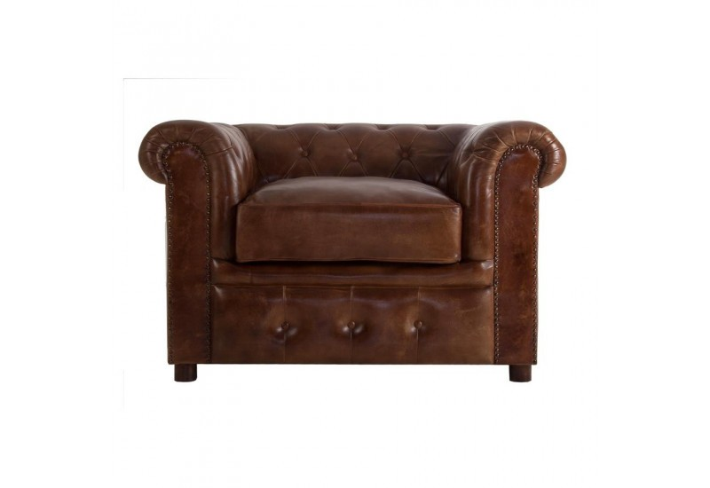 Fauteuil chesterfield capitonn en cuir marron vical home 30399 - Fauteuil chesterfield cuir marron ...