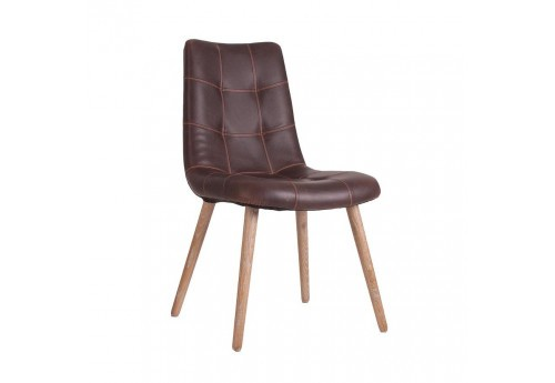 Chaise scandinave cuir marron vical home 30420 for Chaise scandinave cuir