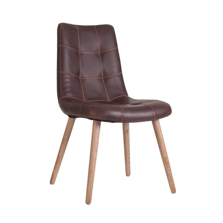 Chaise scandinave cuir marron (Lot de 2)