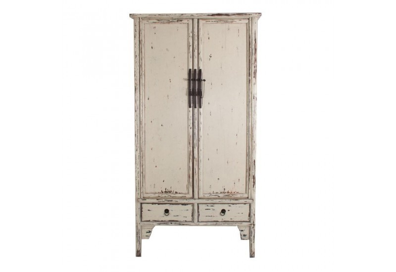 armoire chinoise 2 portes 2 tiroirs en orme blanc antique. Black Bedroom Furniture Sets. Home Design Ideas