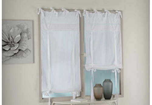Store enrouleur broderie anglaise blanche Apolline 45x160 cm
