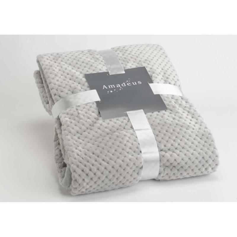 grand plaid velours damier gris clair 170x240 cm amadeus 30803. Black Bedroom Furniture Sets. Home Design Ideas
