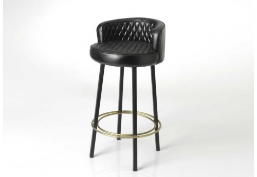 tabouret de bar m tal et cuir noir capitonn amadeus 31128. Black Bedroom Furniture Sets. Home Design Ideas