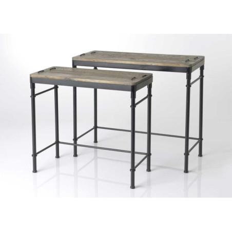 Set de 2 consoles industrielles agraphe métal et bois brut