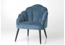 Fauteuil chic forme coquillage bleu