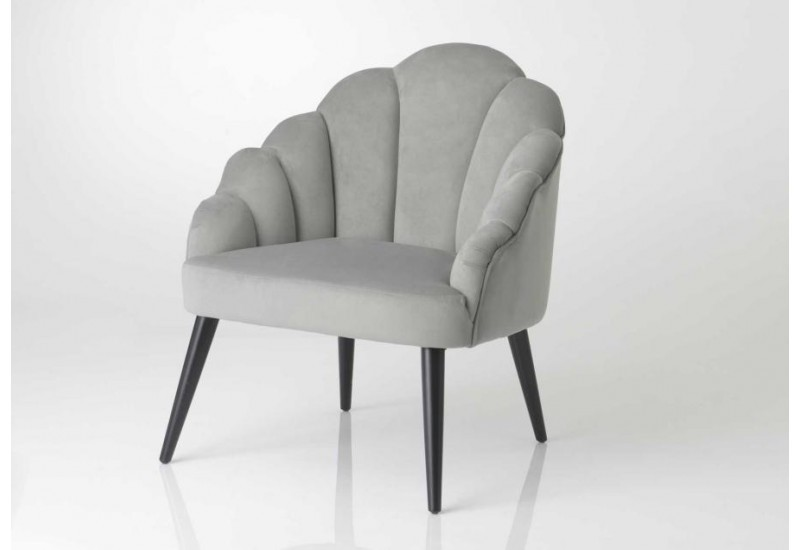 Fauteuil chic forme coquillage gris