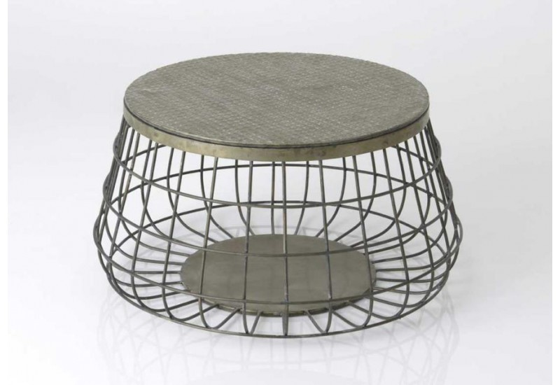 Table Basse Ronde Industrielle Grillage Gris