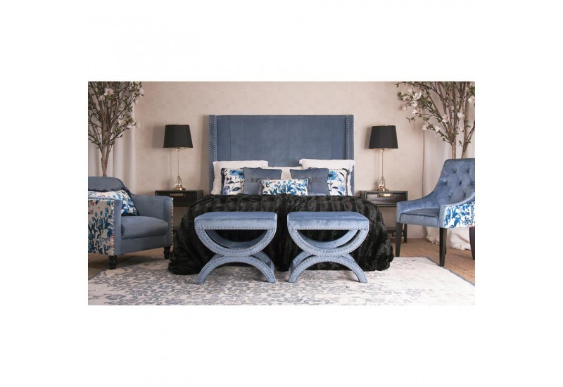 t te de lit 160 cm clout es velours bleu vical home 30388. Black Bedroom Furniture Sets. Home Design Ideas