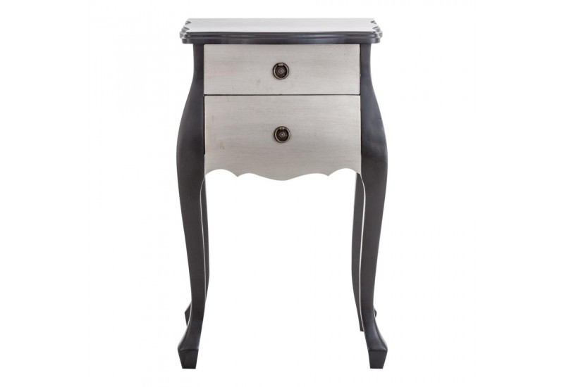 Table de chevet galb e noir et argent vical home 22531 for Table de chevet noir