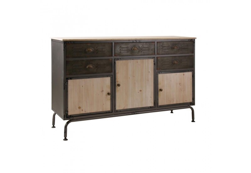 buffet industriel 3 portes 5 tiroirs en m tal 2 couleurs vical home. Black Bedroom Furniture Sets. Home Design Ideas
