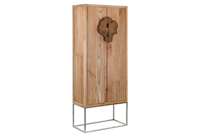 petite armoire 2 portes coloniale en bois exotique sur socle inox v. Black Bedroom Furniture Sets. Home Design Ideas