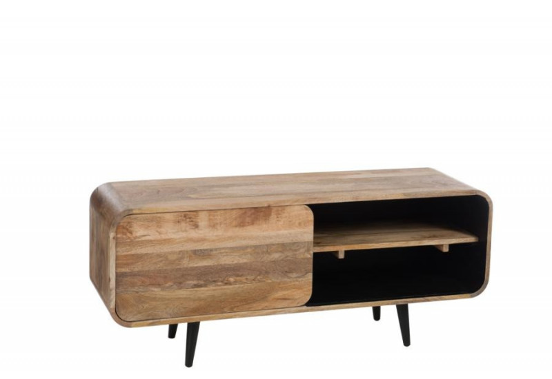 meuble tv 1 porte coulissante r tro bois naturel et noir j. Black Bedroom Furniture Sets. Home Design Ideas