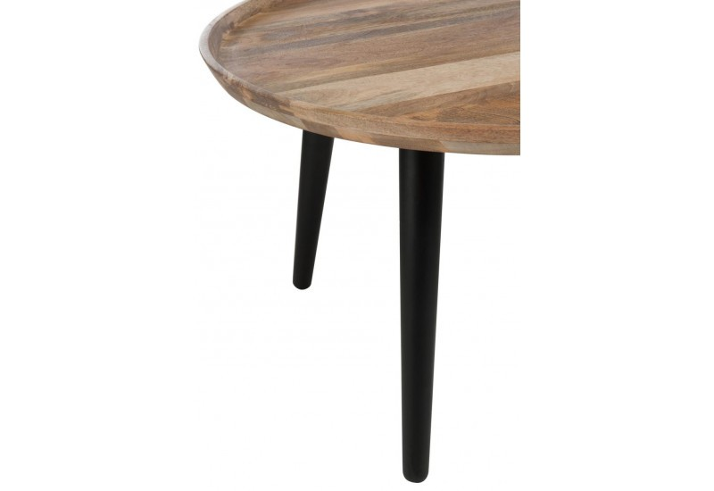 table gigogne ronde r tro bois naturel et noir j line by. Black Bedroom Furniture Sets. Home Design Ideas