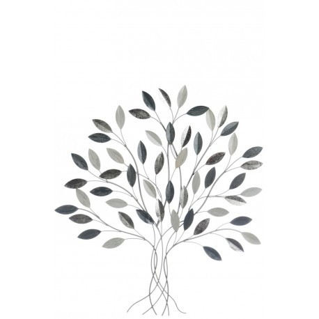 D co murale arbre feuille m tal gris blanc et argent j for Decoration murale j line