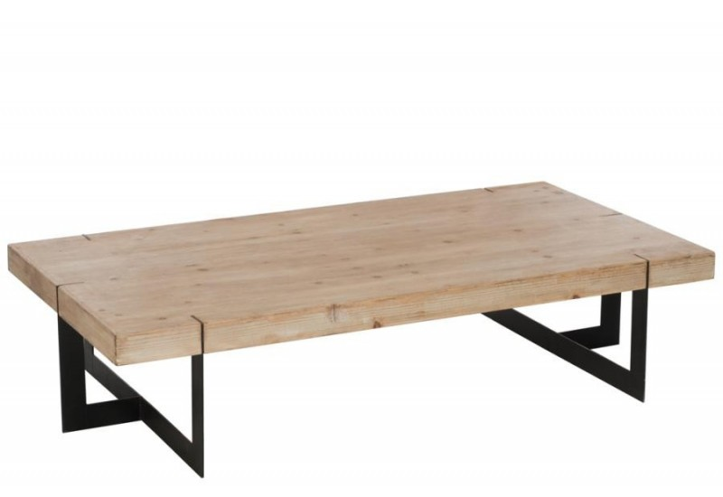 Table basse industriel rectangulaire m tal noir et bois for Table basse scandinave bois massif