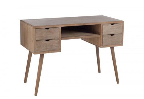 Bureau scandinave 4 tiroirs bois naturel j line by jolipa for Bureau style scandinave