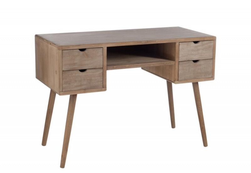bureau scandinave 4 tiroirs bois naturel j line by jolipa jl 76582. Black Bedroom Furniture Sets. Home Design Ideas