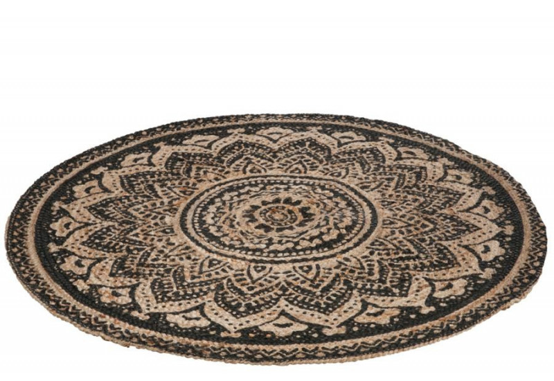 tapis oriental rond 120 cm mosa que en jute naturel et. Black Bedroom Furniture Sets. Home Design Ideas