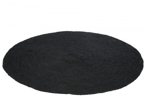 tapis rond 150 cm en jute noir j line by jolipa 31757. Black Bedroom Furniture Sets. Home Design Ideas