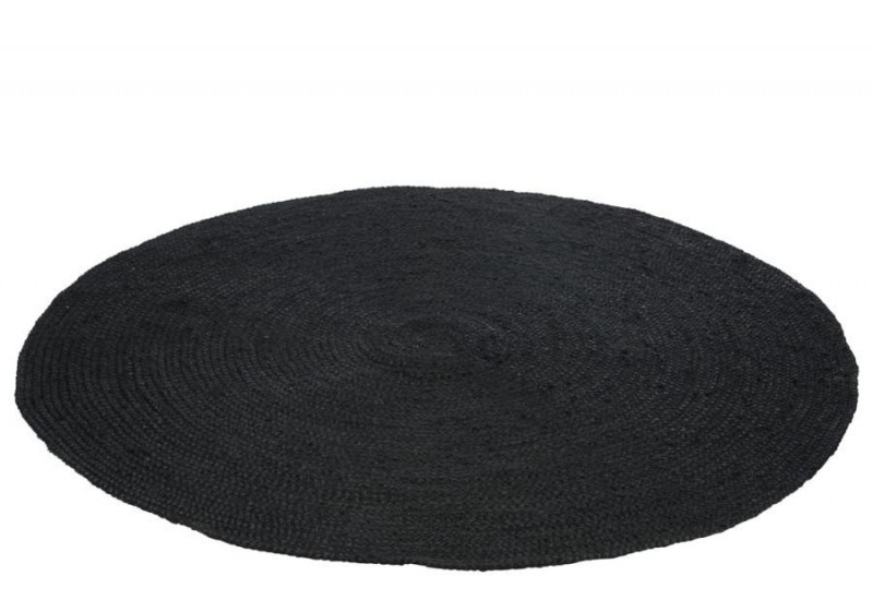 tapis rond 150 cm en jute noir j line by jolipa jl 77391. Black Bedroom Furniture Sets. Home Design Ideas