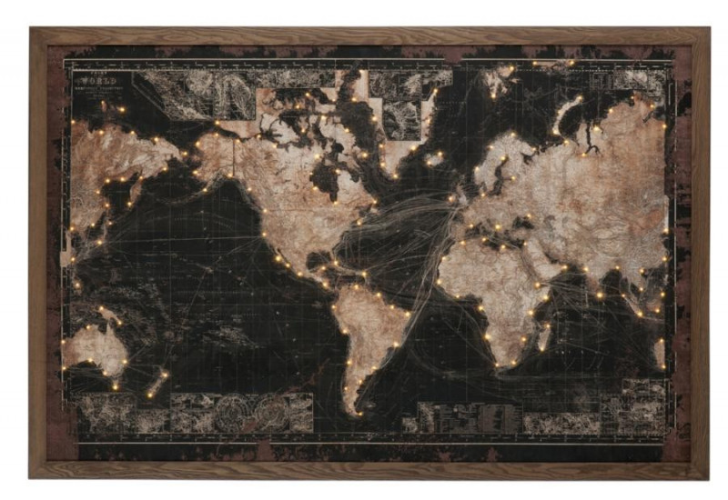 toile cadre led batterie mappemonde en bois noir et marron j line. Black Bedroom Furniture Sets. Home Design Ideas
