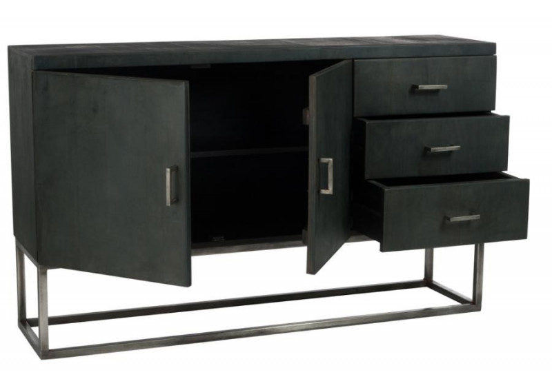 buffet moderne 2 portes 3 tiroirs sur socle en m tal gris et bois m. Black Bedroom Furniture Sets. Home Design Ideas