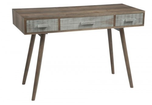 bureau scandinave 3 tiroirs en bois gris et naturel j line. Black Bedroom Furniture Sets. Home Design Ideas